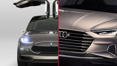 Teslas Model X (t.v.) kommer på markedet allerede neste år. Men Audi har også en elbil-plan i skuffen, og den skal overgå Tesla når det kommer til blant annet rekkevidde.
