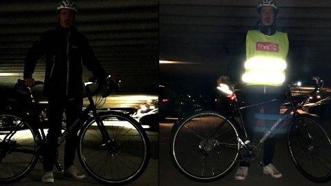 Øyvind Setnes, sykkelekspert i Tryg Forsikring,  viser hvordan en syklist ser ut i høstmørket med og uten refleks.