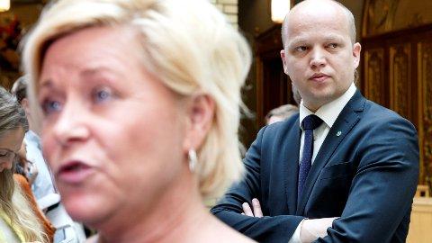 Eiendomsskatten har aldri vært innført i så mange kommuner som med Høyre og Frp i regjering, sier Sp-leder Trygve Slagsvold Vedum.