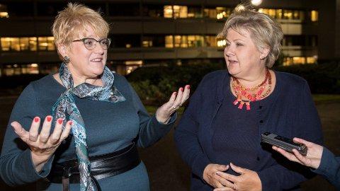 Statsminister Erna Solberg venter harde regjeringsforhandlinger med Venstre-leder Trine Skei Grande.