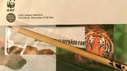 Slik ble blyanten sendt ut til medlemmene i WWF. Nå beklager organisasjonen.
