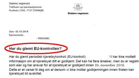 Svært mange glemmer å ta EU-kontrollen innen fristen, det gjør at Statens vegvesen årlig må sende ut mer enn 500.000 purringer.