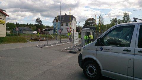Krabilen skal ha vært borti kjøreledningen her på Spydeberg stasjon.