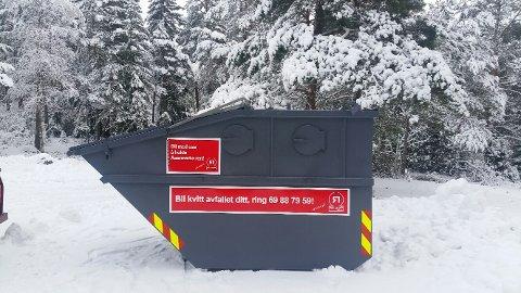 Containeren står rett ved hytta og kan brukes av alle.