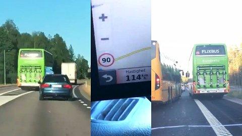 Filmen viser tydelig at bussen kjørte langt over fartsgrensen, tok flere stygge forbikjøringer og snek seg forbi kø ved å kjøre på veiskulderen til høyre i veibanen.