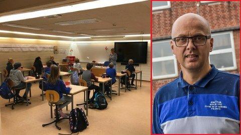 BOMBEROMMET: Elever på Båstad ungdomskole må bruke bomberommet i undervisningen, fordi det ikke er nok klasserom på skolen.
