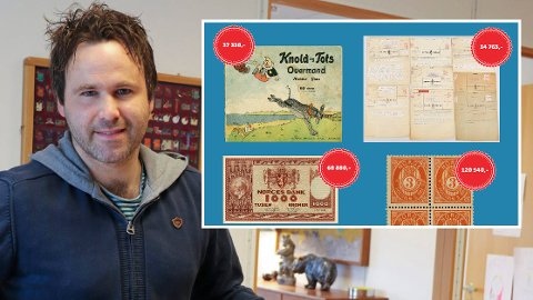 SPINNVILLE SUMMER: En blokk med frimerker, en utgave av Knold og Tot og en 1000-kroners seddel var blant det som nylig gikk for ekstreme summer på Skanfils auksjon. Markedsansvarlig Joachim Aursland forteller om stor interesse.