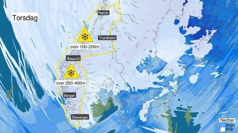 KALDARE: Det blir lågare temperaturar torsdag og snøgrensa vil synka ned til 2–400 meter.