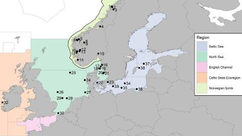 HER ER PRØVANE TEKNE: Kartet viser kor prøvane er tatt (nummera), og områdeinndelinga ICES har lagt til grunn for siste kvoteråd for brisling.