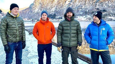 I SORG: Ein kjær turkamerat har gått vekk. Frå venstre: Halvor Dannevig, Tomas Abrahamsen, Gjert Grødal og Sigurd Nordeide-Felde.