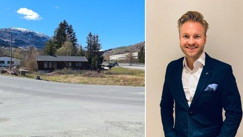 KJEM SNART: Går alt etter planen kjem det ein Uno-X-stasjon her til hausten, ved krysset opp til den nye handelsparken på Skjeldestad. Frode Einarsen i Einarsen Eigedom ser fram til nyetableringa.