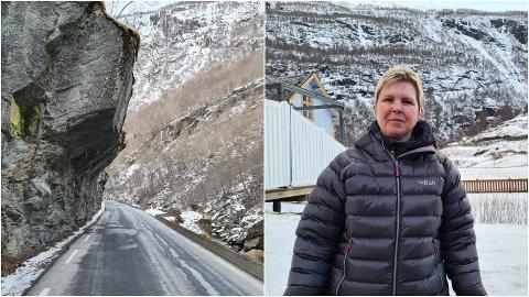 TRØBBEL: Då Borgundstunnelen vart stengt for å oppgraderast fungerte det smale vegstykket på gamle E16 gjennom Nesbergi som omkøyringsveg, utan reguleringar. Det førte til høg fart og skumle situasjonar, fortel Ruth Inger Nesse, som bur nær vegen, rett i overkant av det trongaste vegstykket.