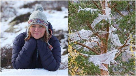 OPPRØRT. Kristin Devor er opprørt over alt av landbruksplast og -fiber som ho såg i Lærdal då ho var i bygda 1. mai-helga.