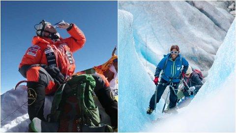 VERDAS HØGASTE: Frank Løke nådde denne veka Mount Everest med både eit par boksar energidrikk utvikla i Sogn i sekken og  saman med sherpaer som har jobba for Jostedalen breførarlag mange sesongar, her representert ved Mingma Tsiri Sherpa på Nigardsbreen.