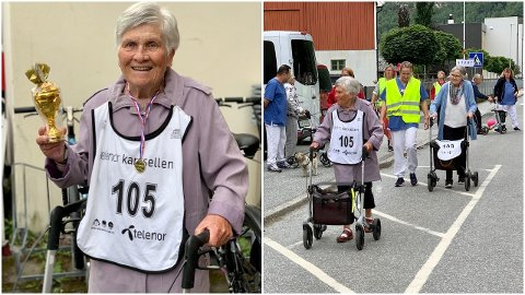 ÅRDAL: Kirsten Larsen (88) stakk av med pokalen i rullatorløpet i Øvre Årdal torsdag.