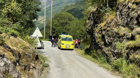 ULUKKE: Det har vore ein travel dag med mykje syklistar i Flåmsdalen. For ein av dei enda det i knall og fall.