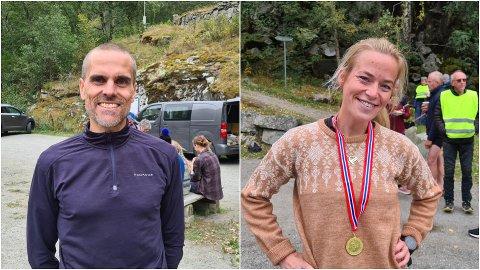 SPREKE: Rune Opem frå Hafslo vann herreklassen og Marita Hestetun frå Årdal vart beste sogning i kvinneklassen med 3. plass under Galdane Rundt i Lærdal laurdag.