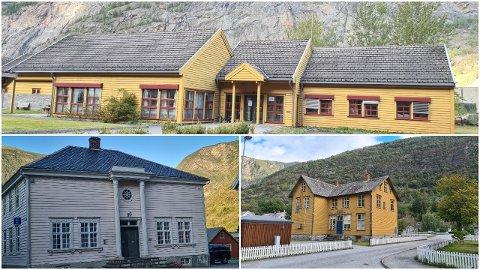 MANGE: Lærdal kommune eig mange bygningar, men har fleire moglege sal på gang. Vegstasjonen (øvst), gamleskulen / Kosen (nede til høgre) og gamlebanken er bygningar kommunen no ønskjer å få seld.