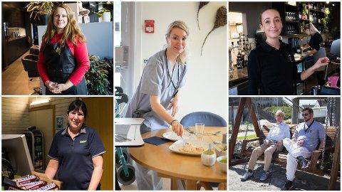 Solabladet har snakket om lønn med folk i vanlige yrker. Øverst f.v:  Giedrè Zokienè, Barbro Narvesen, Henriette Mjøen Hetland. Nederst f.v: Tone Gramstad, Martin Enoksen og Sean Graeter.