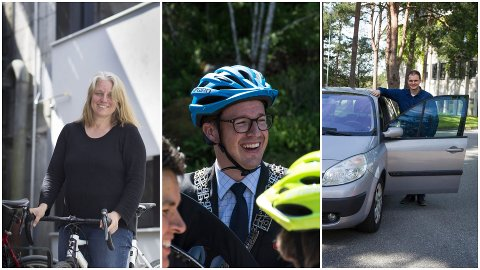 Ine Marit T. Bertelsen (V) sykler til jobb hver dag. Ordfører Ole Ueland kjører, men forsøker å ta buss minst en gang i uka. MDGs David Moen kjører og sykler annen hver dag til jobb.