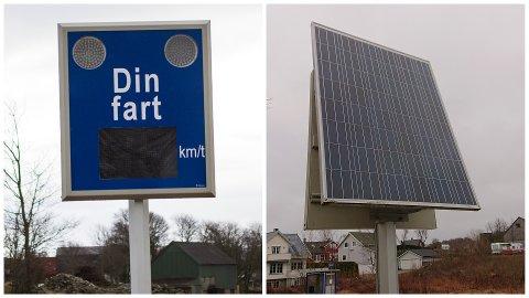 Solcellepanelet på baksiden av fartstavlen i Kolnesvegen er stjålet.