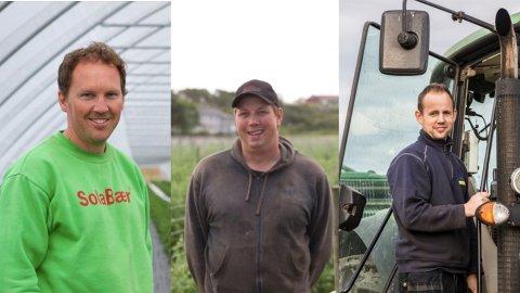 Fra venstre: Kjetil Sola, Anders Lie og Arnstein Røyneberg er alle nominert til Landbruket i Rogaland sin hederspris for 2020.