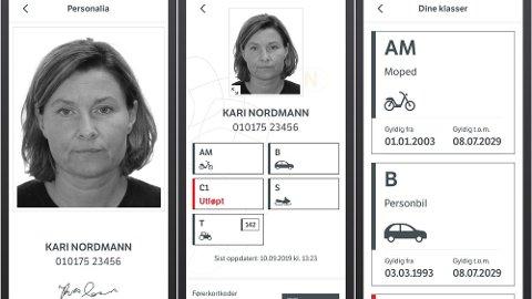 DIGITALT FØRARKORT: Slik vil førerkortet se ut i appen. Foto fra Statens vegvesen