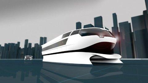 FRAMTID PÅ SJØEN: Moderne elektriske hurtigbåter er på vei inn, som denne Urban Water Shuttle, som skal sørge for effektiv og miljøvennlig transport på sjøen, som alternativ til bil og buss i bynære områder. I Ryfast er privatbilen avgjørende. (Illustrasjon: Maritime Clean Tech)