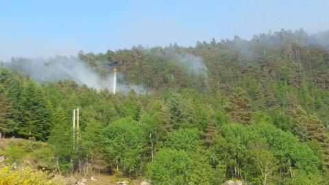 BLUSSA OPP: Skogbrannen på Ombo blussa opp att måndag morgon, men brannvesenet meiner dei har kontroll. På biletet er det eitt av dei to helikoptera som er i sving med sløkkearbeid i skogen ovanom Eidssund.