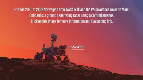 LANDER PÅ MARS: I kveld lander dette fartøyet på mars for å lete etter liv. Georaderen om bord er bygt av Comrod AS på Tau.