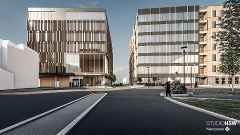 VEDTATT: I løpet av 2024 kan de ansatte i fylkeskommunen flytte inn i et nytt fylkeshus vegg i vegg med jernbanestasjonen på Steinkjer.