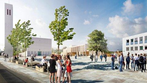 Slik kan det bli når byggingen av kulturhuset i Steinkjer er ferdig sommeren 2023.