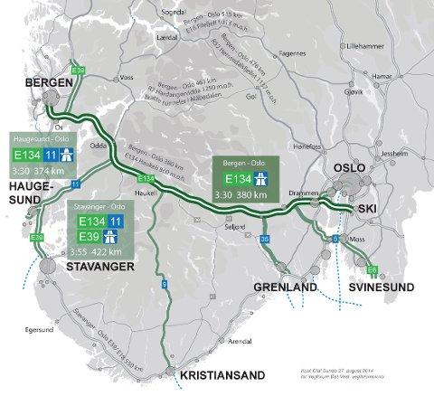 KAN BLI NY HOVEDVEI: Etter det TA kjenner til blir E134 over Haukelifjell en av to nye hovedveiforbindelser mellom øst og vest, mellom Oslo og Bergen. Noe som bare i Telemark kan bety investeringer på rundt ti milliarder kroner, hvis ikke mer. I dag legger Statens vegvesen fram sin innstilling om hva de prioriterer.