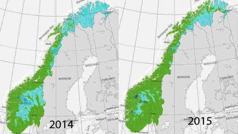 LITE SNØ: Snøkartet til høyre viser hvor lite snø det er per dags dato i Norge. Mye mindre enn på den samme datoen i fjor (kartet til venstre) Foto: Senorge.no