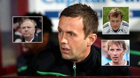 UENIGE: Alex McLeish rettet store krav mot Ronny Deila. Det får tidligere norske Celtic-spillere til å reagere. (Montasje NTB scanpix)