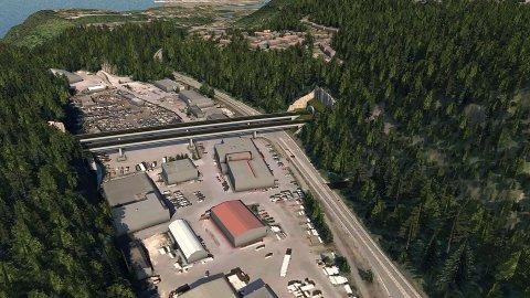 VIRKNING: Ny E18 vil få betydelige følger for Porsgrunn og Bamble. Her er en skisse for Skjelsvikdalen.