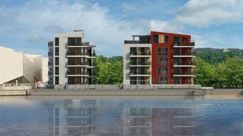Slik blir det: Frednes brygges første byggetrinn teller 24 leiligheter, og skal se slik ut. Nabobyggene må imidlertid se annerledes ut.