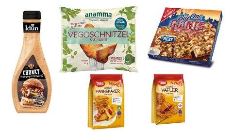 MATNYHETER: Burgerdressing, vegansk schnitzel, ny big one-variant og grove vafler og pannekaker. Foto: Orkla