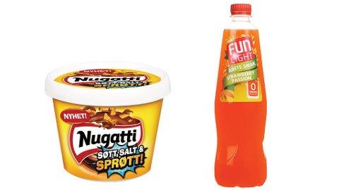 SØTT: Fun Light uten sukker med jordbærsmak og ny nugatti som smaker både søtt, salt og crunchy. Foto: Orkla