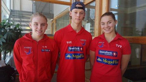 PÅ NM: Ine Marie Andersen, Fredrik Frantzen og Jonette Kristiansen Pflug under senior-NM i Asker. foto: privat