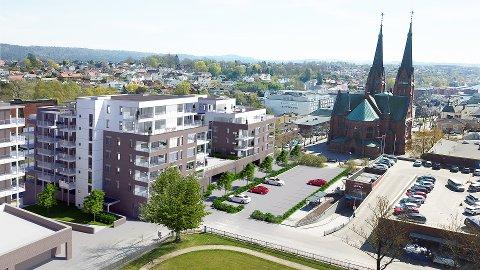 SLIK BLIR DET: Dette er den første skissen som viser hvordan prosjektet ved Skien kirke, Kverndalen og Lietorvet blir. Blant annet skal 80 leiligheter på plass i fire bygninger.