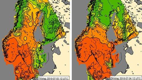 VARSELET: Slik ser UV-varselet ut for tirsdag og onsdag. Oransje farge viser områder med sterk UV-stråling, gult er moderat, mens grønn er lav UV-stråling. Foto: Faksimile (Meteorologisk institutt)