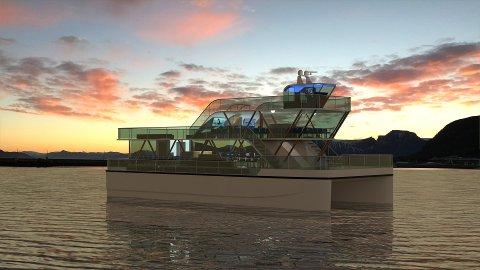 STORE AMBISJONER: Dette er båten som skiensgründerne håper skal revolusjonere turistbåt-markedet.