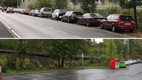 TOMT OG FULLT: Både ved Høn (nederst) og Stabekk stasjon parkerer mange pendlerne gratis på kommunale veier direkte ved stasjonen. Da slipper de å parkere på Bane NORs avgiftsbelagte parkeringsplasser. Foto: Halvor Ripegutu