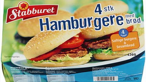 «Stabburet Hamburgere med brød» blir trukket fra butikkene på grunn av allergirisiko Foto: Orkla Foods Norge/ANB