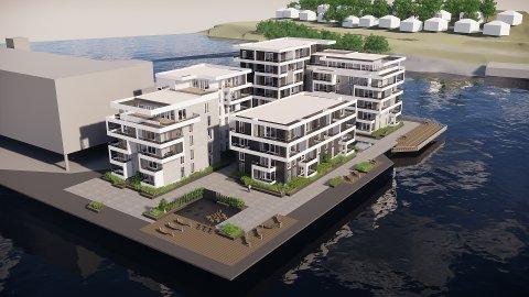 UTVIDELSE AV ØYA: Planene til Conceptor Bolig innebærer i praksis en utvidelse av Klosterøya. Boligene skal fundamenteres på pæler ute i elva.  NB! Prosjektet er endret noe etter at denne tegningen ble laget.