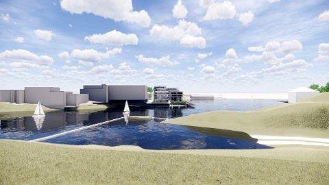 ENDRING: Illustrasjonen viser omsøkt bebyggelse med endring av byggegrense for boligprosjektet med 70 boliger og parkeringsanlegg i elva ved Klosterøya nedenfor Klosterfoss. Prosjektet skal bygges på peler i elva, ikke utfylling.