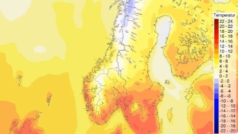Sør-Norge får det beste været, og her kan det bli et tosifret antall plussgrader i lavlandet de neste dagene. Foto: (Meteorologisk institutt)