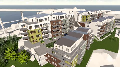FØRSTE SKISSE: Dette er de foreløpig første skissene for de nye leilighetene vest for brotorvet. Utbygger presiserer at det kan skje endringer.