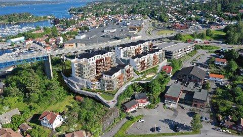 NYE LEILIGHETER: Mange vil inn i det nye leilighetsprosjektet sentralt på Stathelle.